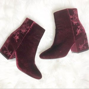 Kenneth Cole Renna velvet embroidery chunky boots